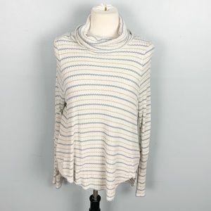 Free People   Striped Thermal Turtleneck Sweater